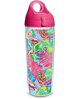 Tervis Bright Flamingo Pattern Insulated Tumbler with Wrap and Lid, 24 oz Water Bottle - Tritan, Clear