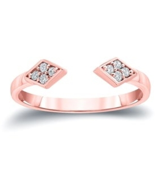 Auriya 1/10ctw Open Cuff Diamond Ring 14k Gold Stackable Band (7.5 - Rose)