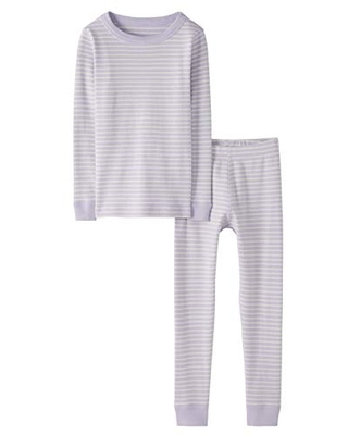 Moon and Back by Hanna Andersson Little Kids 2 Piece Long Sleeve Pajama Set, Light Purple, 8