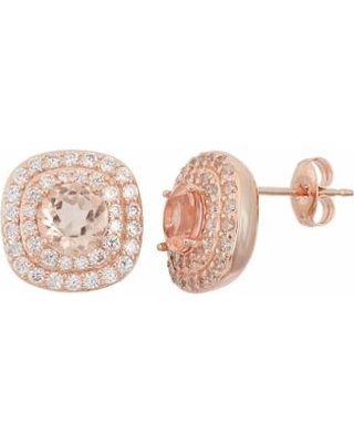Peach Quartz Doublet & Cubic Zirconia 18k Rose Gold Over Silver Halo Stud Earrings, Women's, Pink