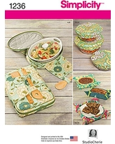 Simplicity Creative Patterns 1236 Casserole Carriers, Gifting Baskets and Bowl Covers, Size: Os One Size