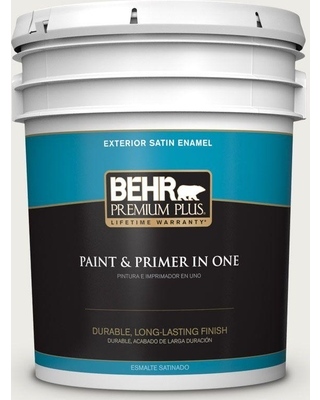 BEHR Premium Plus 5 gal. #bwc-20 Melting Icicles Satin Enamel Exterior Paint and Primer in One