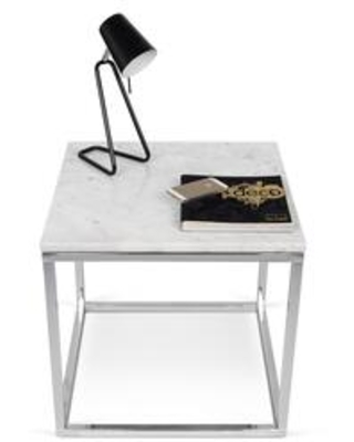 Prairie Collection 9500625053 20X20 Marble End Table in White Marble Top and Chrome Legs