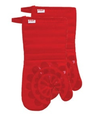 T-fal Textiles 2 Pack Print Silicone Medallion Cotton Twill Oven Mitt Set (Red)