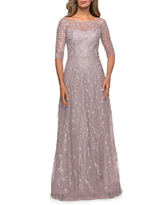 La Femme Floral Embroidery A-Line Gown, Size 8 in Orchid Pink at Nordstrom