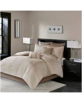 Madison Park Camelia King 8 Piece Embroidered Comforter Set in Natural - Olliix MP10-4689