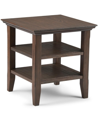Brooklyn + Max Brunswick Solid Wood 19 inch Wide Square Rustic End Table in Farmhouse Brown