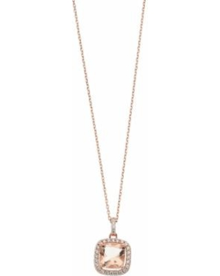 """""""14k Rose Gold Over Silver Simulated Morganite Cushion Pendant Necklace, Women's, Size: 18"""", Pink"""""""