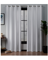 "Set of 2 96""x52"" Academy Total Blackout Grommet Top Curtain Panel White - Exclusive Home"