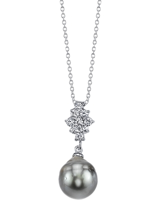 Radiance Pearl Sterling Silver Drop Tahitian South Sea Pearl and Crystal Pendant (9-10mm) (9mm Tahitian South Sea Pearl Pendant)