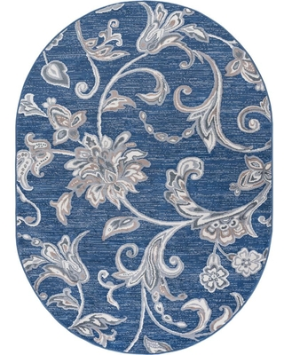 Spectacular Deals On Tayse Rugs Madison Navy 5 Ft X 7 Ft Oval Area Rug Blue