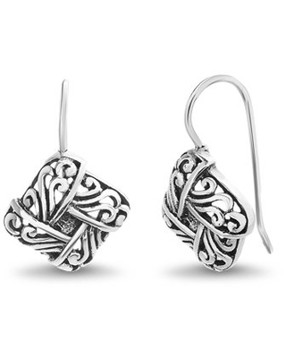 Willowbird Women's Polished Squared Filigree Design Hook Earrings in Oxidized Sterling Silver