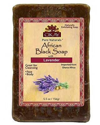 OKAY   African Black Soap with Lavender   For All Skin Types   Cleanses and Exfoliates   Nourishes and Heals   Free of Parabens, Silicones, Sulfates   5.5 oz