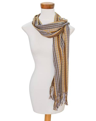 Handwoven Earth-Tone Wrap Scarf from Guatemala