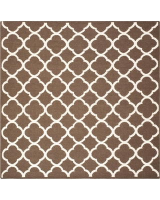 Safavieh Dhurries Brown/Ivory 7 ft. x 7 ft. Square Area Rug