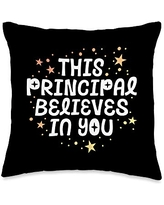 School Squad This Principal Believes Growth Mindset Kind Throw Pillow, 16x16, Multicolor