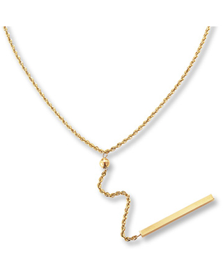 """Jared The Galleria Of Jewelry Bar Dangle Necklace 14K Yellow Gold 18"""" Length"""