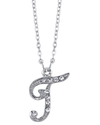 """2028 Silver-Tone Crystal Initial Necklace 16"""" Adjustable"""