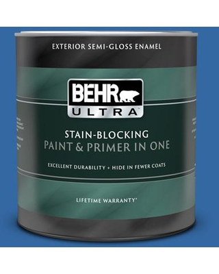 BEHR ULTRA 1 qt. #S-G-560 Jazz Blue Semi-Gloss Enamel Exterior Paint and Primer in One