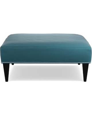"""Fairfax Square Ottoman, Tapered Leg, Untufted 42"""", Signature Velvet, Cyan, Welted"""