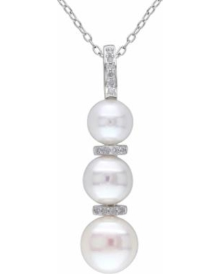 """""""Stella Grace Sterling Silver Freshwater Cultured Pearl & Diamond Accent Pendant Necklace, Women's, Size: 18"""", White"""""""
