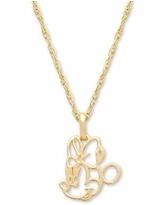 """Disney Children's Minnie Mouse Outline 15"""" Pendant Necklace in 14k Gold - Yellow Gold"""