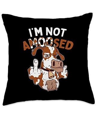 Cow Cattle Animal Rights Apparel Challenge Anti Scaring Pun I'm Not Amused Angry Cow Throw Pillow, 18x18, Multicolor