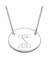 Sterling Silver Oval Tag Initial Necklace (Silver/S)