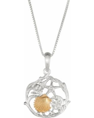 """""""Sterling Silver and 14k Gold Seashell Cluster Pendant Necklace, Women's, Size: 18"""""""""""
