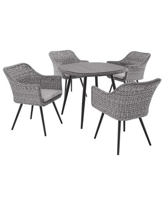 Endeavor Collection EEI-3320-GRY-GRY-SET 5 PC Outdoor Patio Wicker Rattan Dining Set in Grey Grey