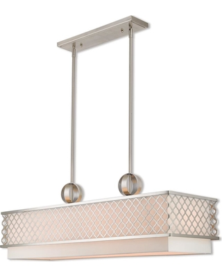 Livex Lighting Arabesque 6-Light Brushed Nickel Linear Chandelier with Hand Crafted Off White Outside and White Inside Hardback Shade