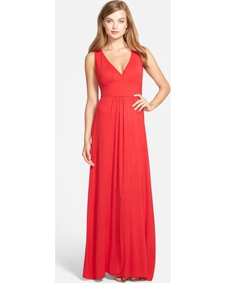 Women's Loveappella V-Neck Jersey Maxi Dress, Size Small - Red