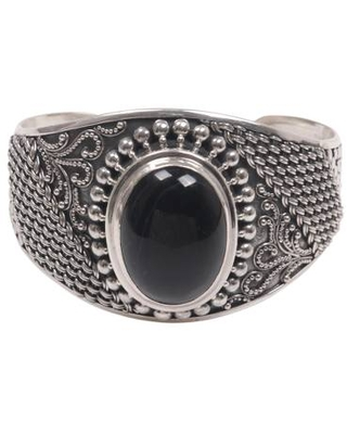 Artisan Crafted Black Onyx Sterling Silver Wide Cuff Bracelet
