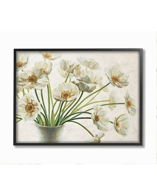 """Stupell Industries Peaceful Poppies White Florals in Soft Ceramic Framed Wall Art Design by Eva Barberini, 16"""" x 20"""", Black Framed"""