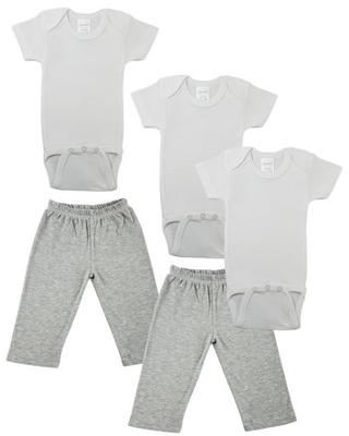 Bambini Mix N Match Short Sleeve Bodysuits & Track Sweatpants Outfit Sets, 5pc (Baby Boys or Baby Girls, Unisex)
