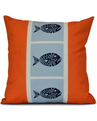 E by Design 16 in. Fish Chips Animal Print Pillow in Orange
