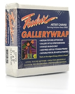Fredrix Gallerywrap Stretched Canvas 5 in. x 5 in. each [Pack of 2],Size: med