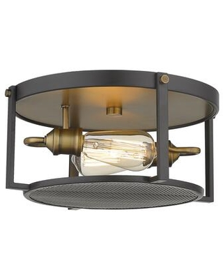 Halcyon Collection 723F13-BRZ+HBR 2 Light Flush Mount in Bronze and Heritage