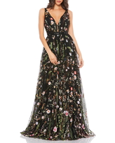 Mac Duggal Floral Embroidered Mesh Gown, Size 2 in Black Multi at Nordstrom