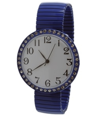 Jumbo Dial Stretch Band Watch Crystal Bezel Easy Read Dial (Blue)