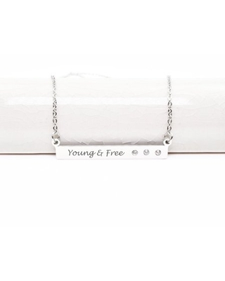Inspirational Bar Necklace with Cubic Zirconia
