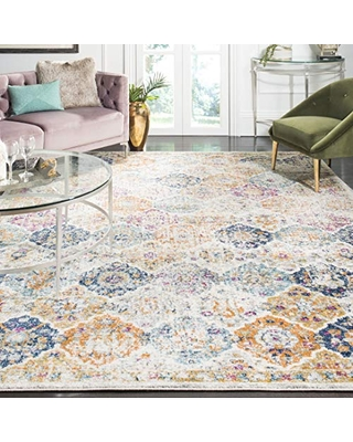 Safavieh Madison Collection MAD611N Boho Chic Vintage Distressed Area Rug, 11' Square, Navy/Teal