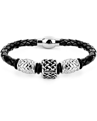 Crucible Black Leather and Steel Lattice Square Bead Braided Bracelet (Black - White - 8 Inch)