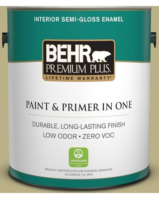 BEHR Premium Plus 1 gal. #390F-5 Ryegrass Semi-Gloss Enamel Low Odor Interior Paint and Primer in One