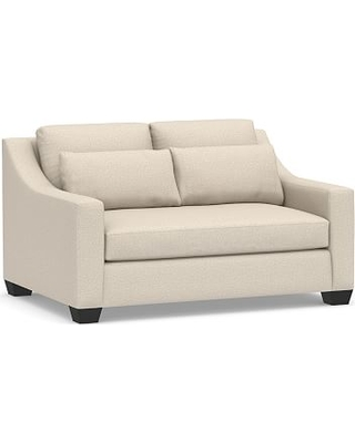 """York Slope Arm Upholstered Deep Seat Loveseat 60"""" with Bench Cushion, Down Blend Wrapped Cushions, Performance Chateau Basketweave Oatmeal"""