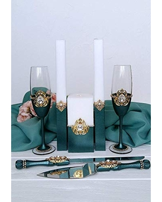 Green and gold wedding glasses Crystal cake server and knife set Unity candle set Wedding toasting flutes Personalized champagne glasses