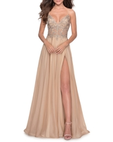 La Femme Floral Applique Chiffon Gown, Size 4 in Nude at Nordstrom