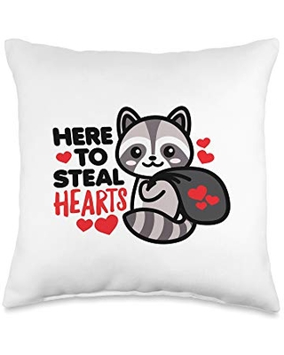 Detour Shirts Here to Steal Hearts Funny Valentines Day Racoon Kawaii Throw Pillow, 16x16, Multicolor