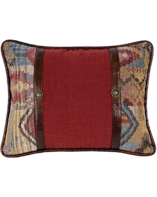 HiEnd Accents Brown/Red Oblong Throw Pillow with Faux Leather Band (Throw Pillows)