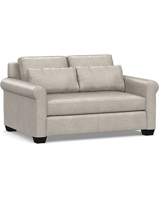 """York Deep Seat Roll Arm Leather Loveseat 63"""" with Bench Cushion, Polyester Wrapped Cushions, Statesville Pebble"""